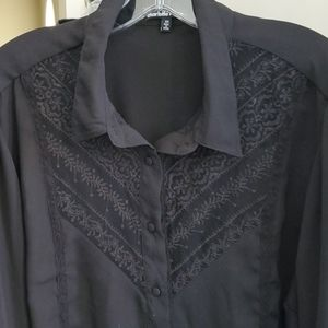 Silky Blouse with Lace, Plus